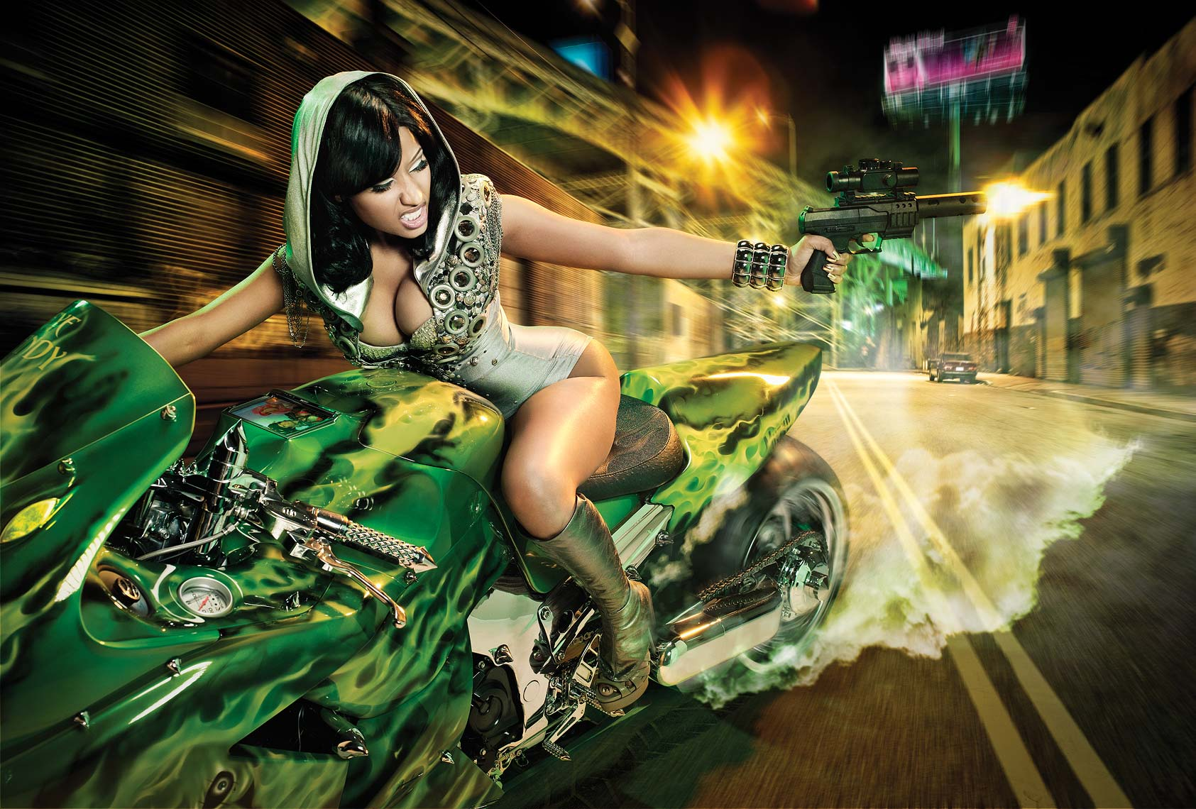 Howard-Huang-Nicki-Minaj-bike-gun-magazine-Blackmen
